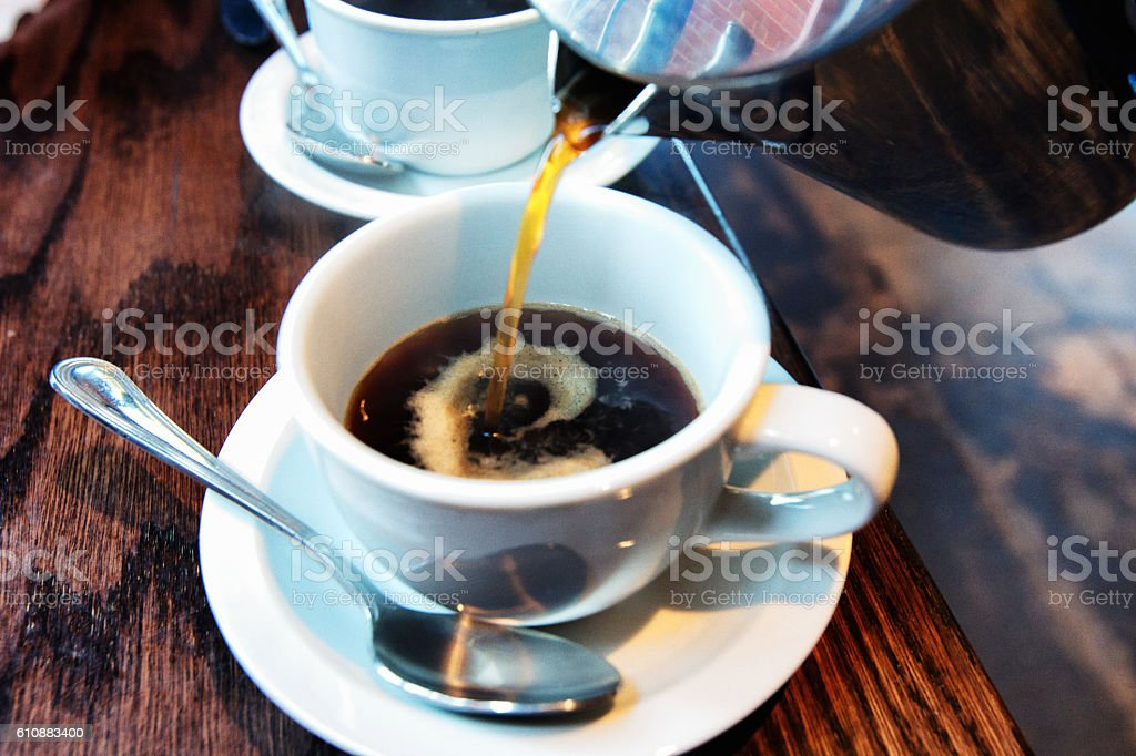 Hot Coffee from a French Press stock photo