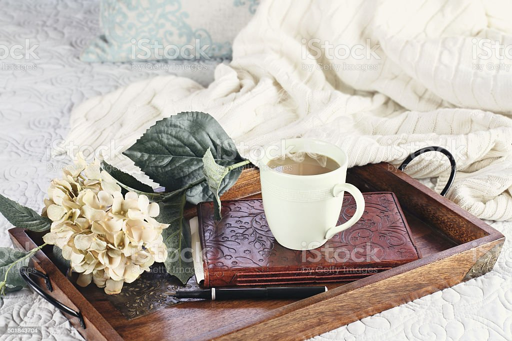 Hot Coffee in Bed stock photo