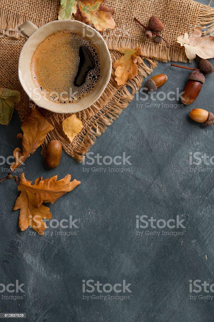Hot coffee in mug stock photo