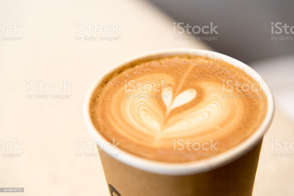 hot coffee in paper cup stock photo