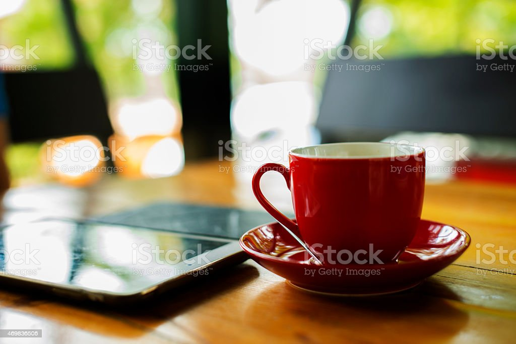 Hot coffee in the red cup royalty-free stock photo