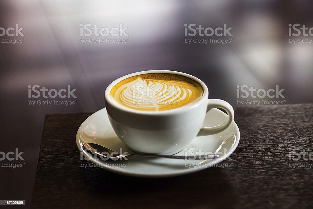 Hot coffee in vintage style. stock photo