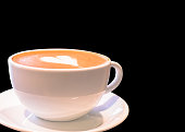 Hot coffee in white cup on isolated