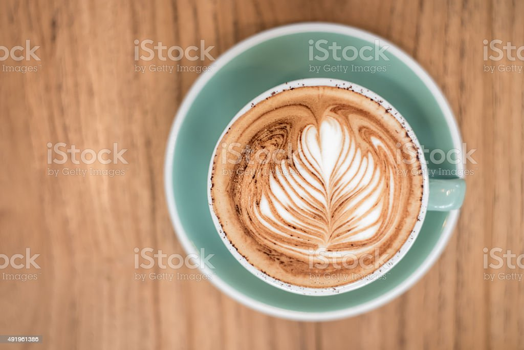Hot Coffee on a Wooden Tray stock photo
