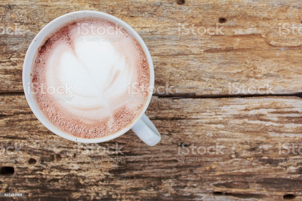 Hot coffee on wooden stock photo