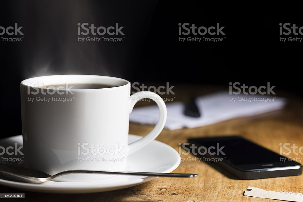 Hot Coffee, Smartphone and Mail Horizontal royalty-free stock photo