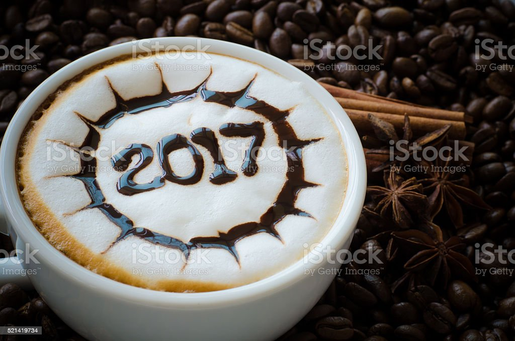 hot coffee with foam milk art 2017 pattern stock photo