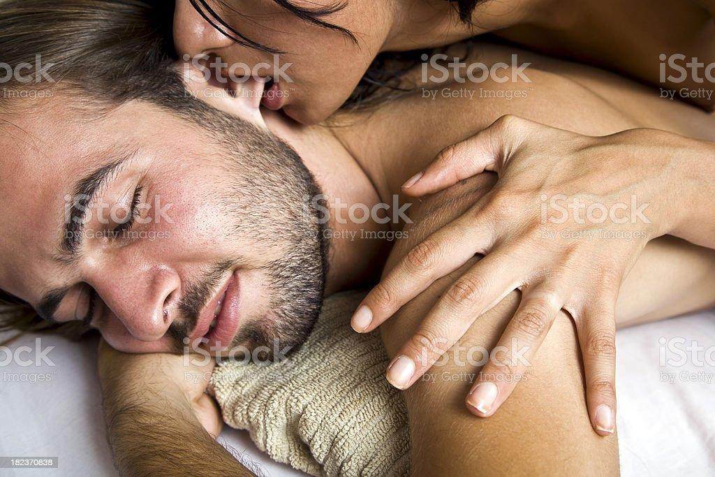 hot couple at spa stock photo