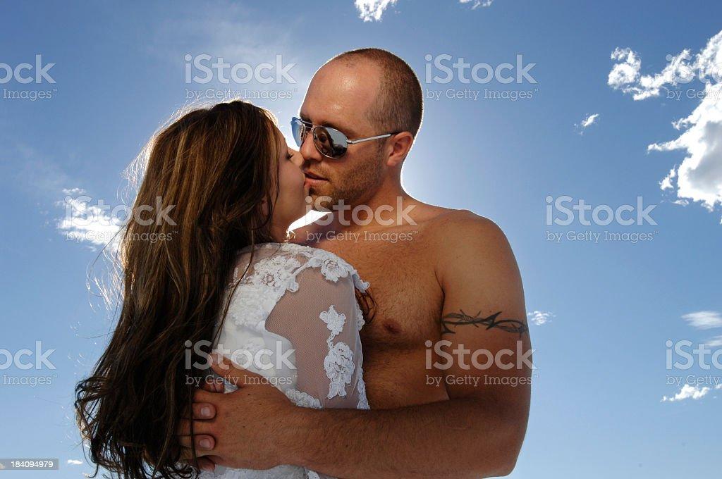 Hot couple backlit Bonneville Salt Flats series 2 stock photo