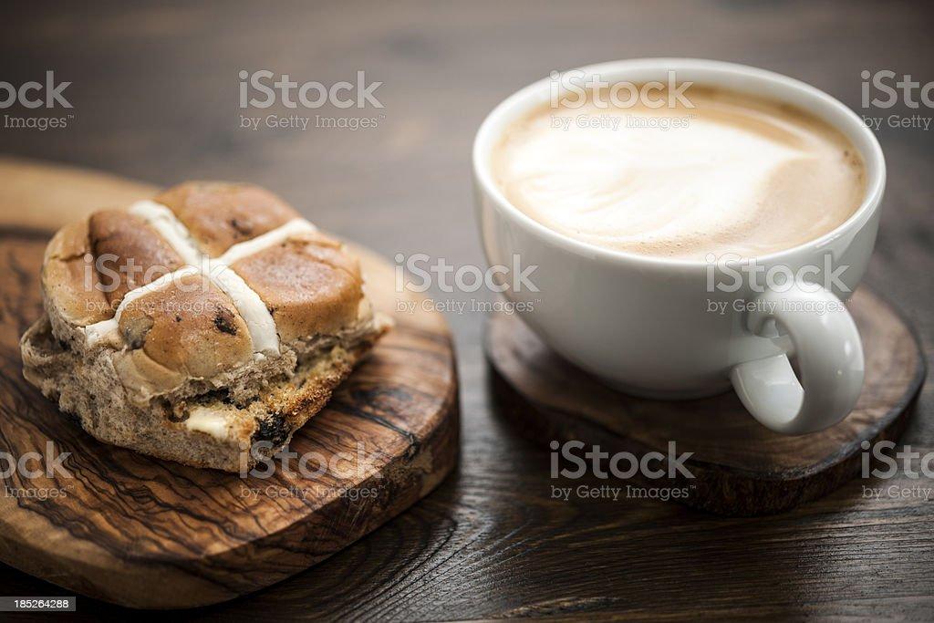 Hot Cross Bun and Coffee stock photo