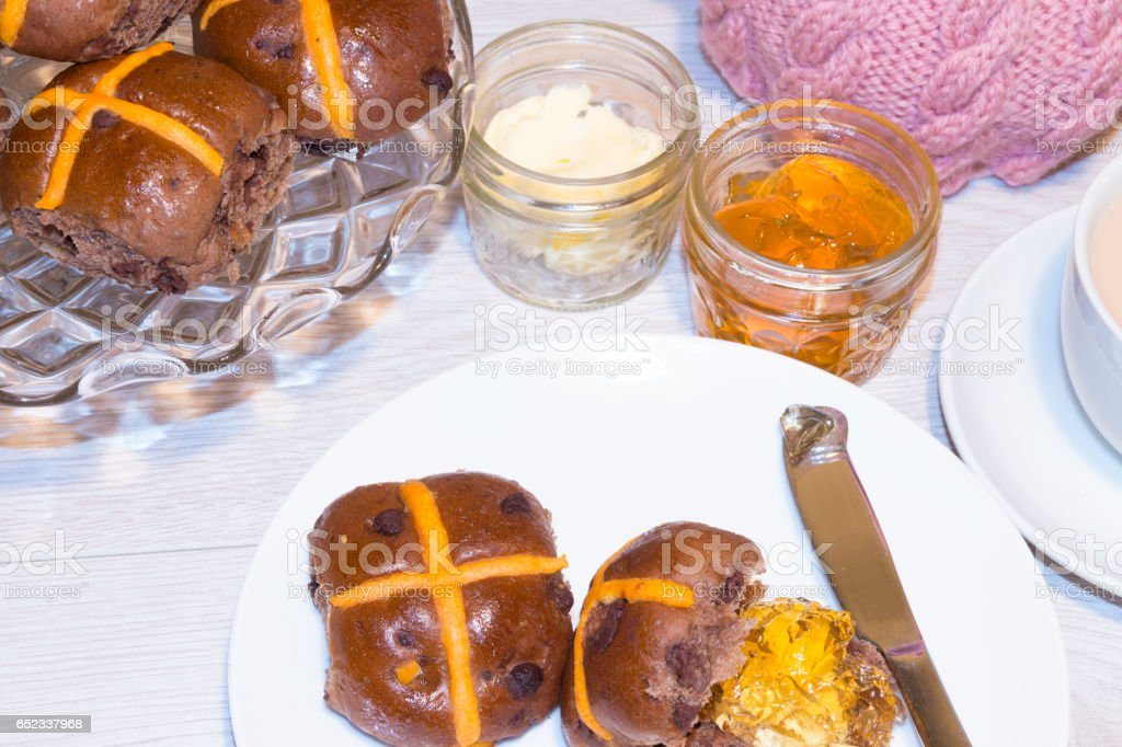 Hot Cross Chocolate Orange Buns for Easter Afternoon Tea stock photo