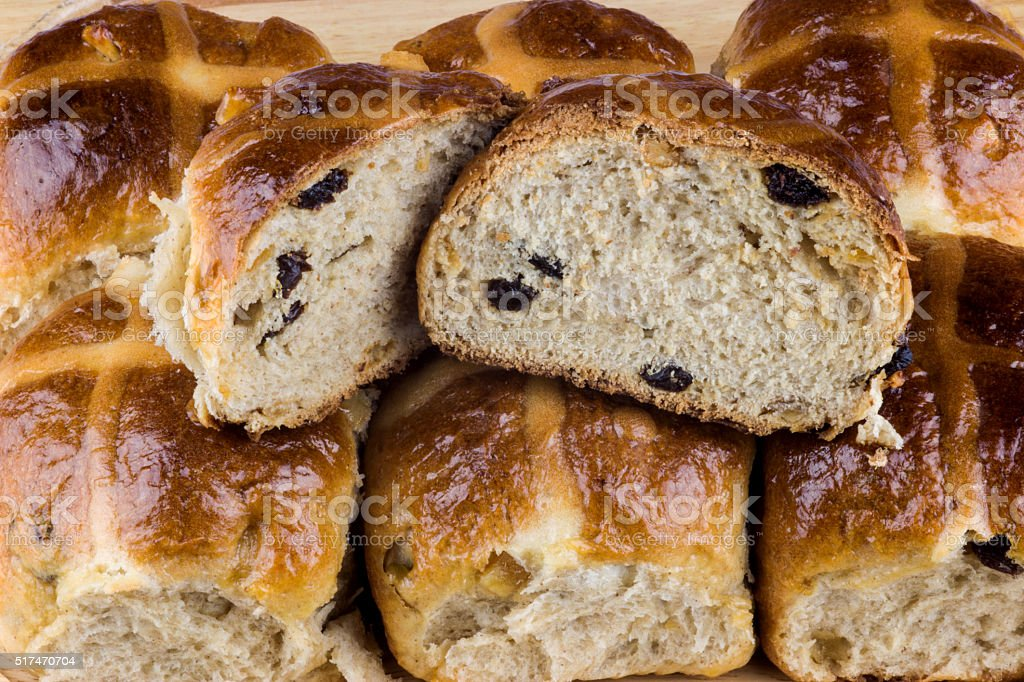Hot Cross Easter Buns on Wooden Tray stock photo