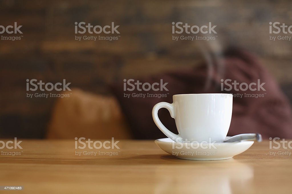 hot cup on table. stock photo