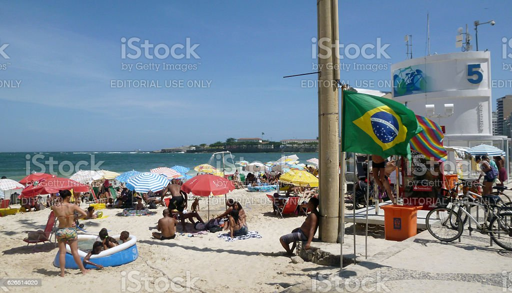 Hot day at Copacabana Beach in Rio stock photo