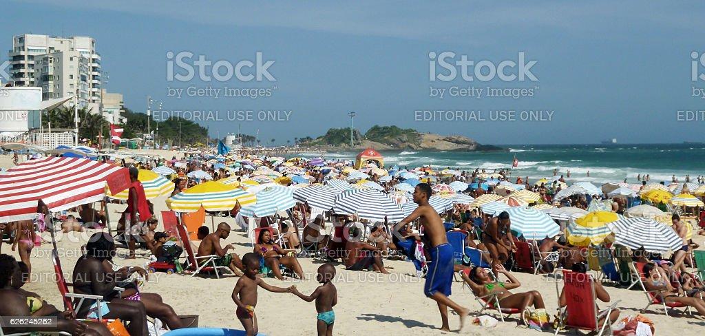 Hot day at Ipanema Beach in Rio stock photo