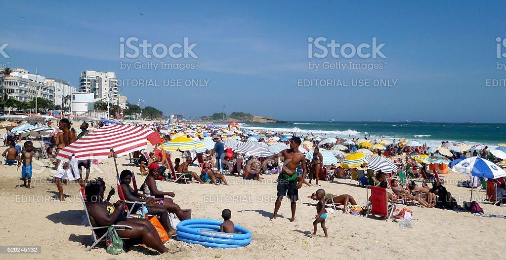 Hot day in Ipanema Beach in Rio stock photo