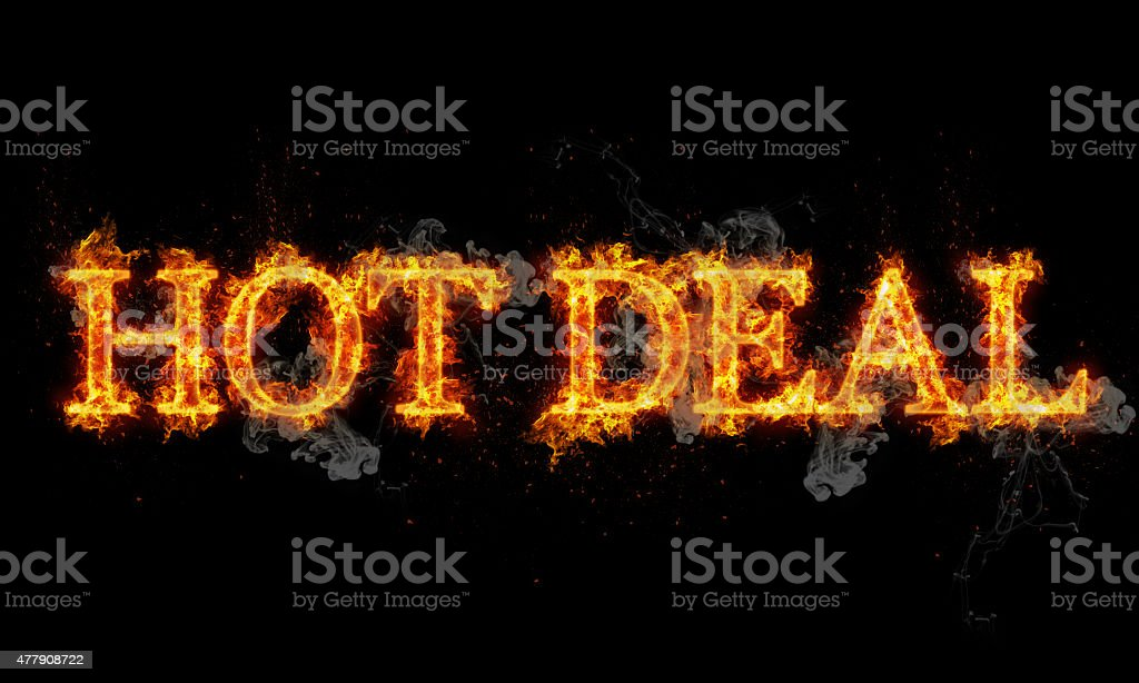 Hot deal burning word written text in flames stock photo