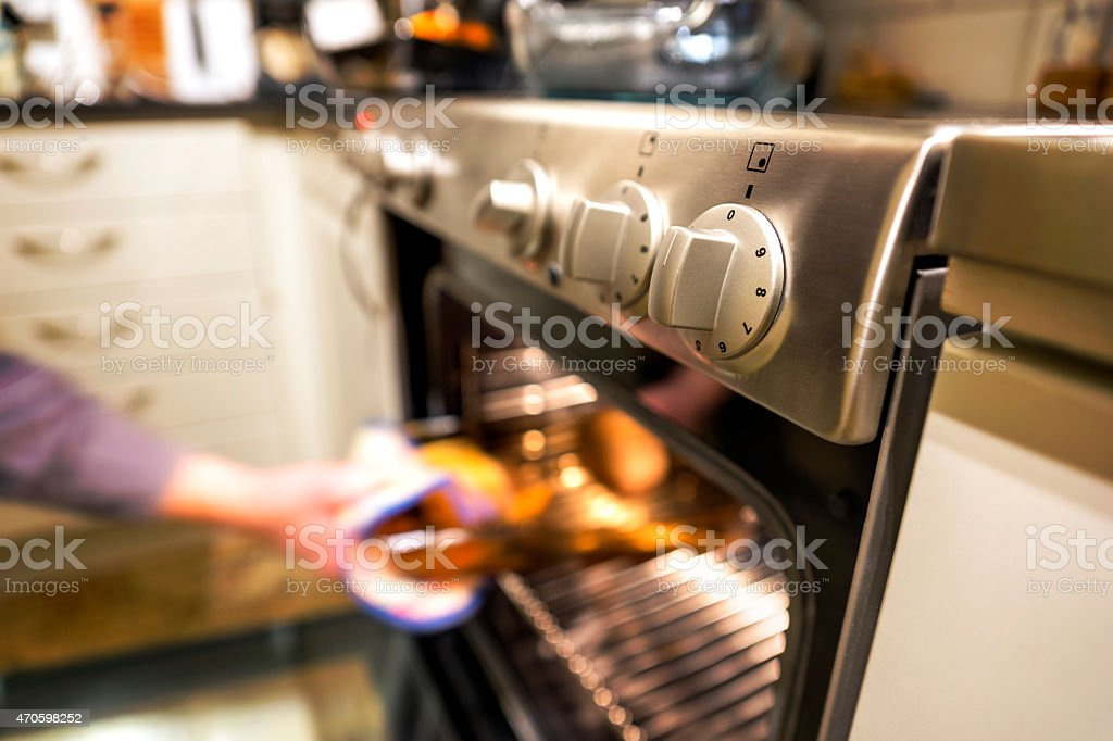 Hot dish in oven stock photo