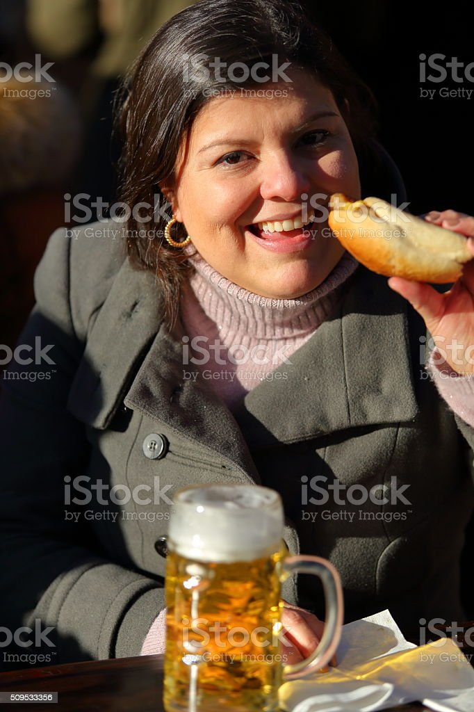 Hot Dog and Beer stock photo
