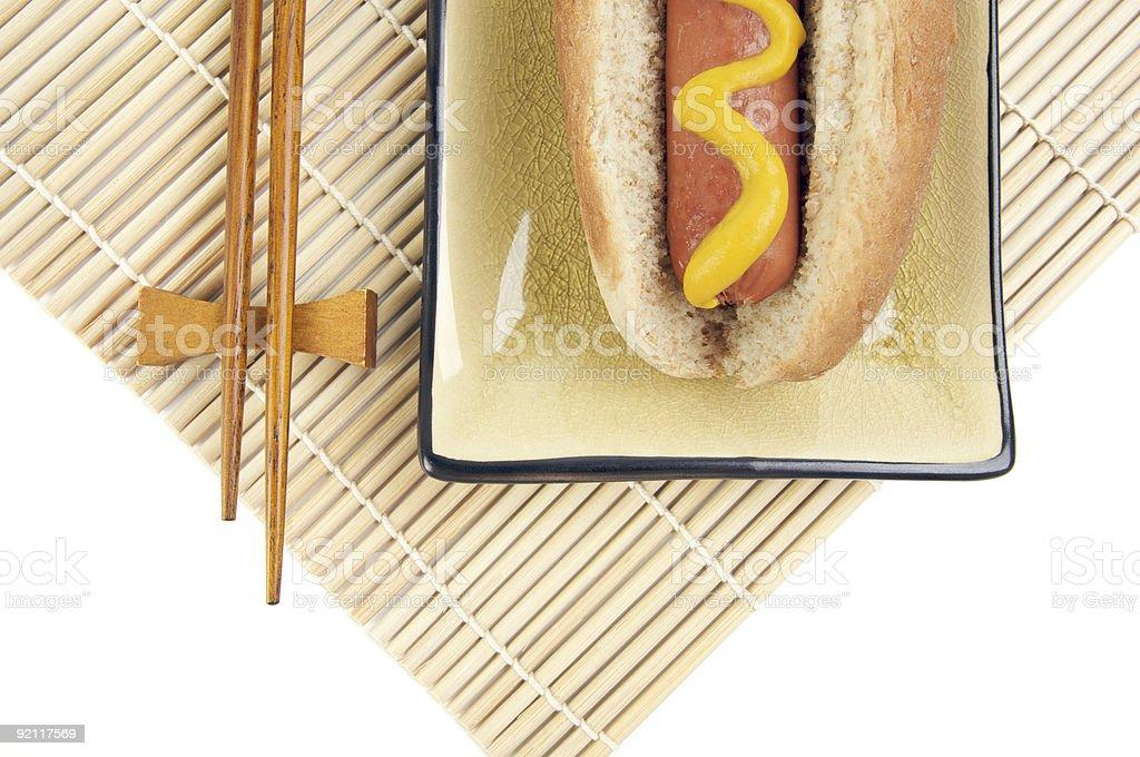 Hot Dog and Chopsticks royalty-free stock photo