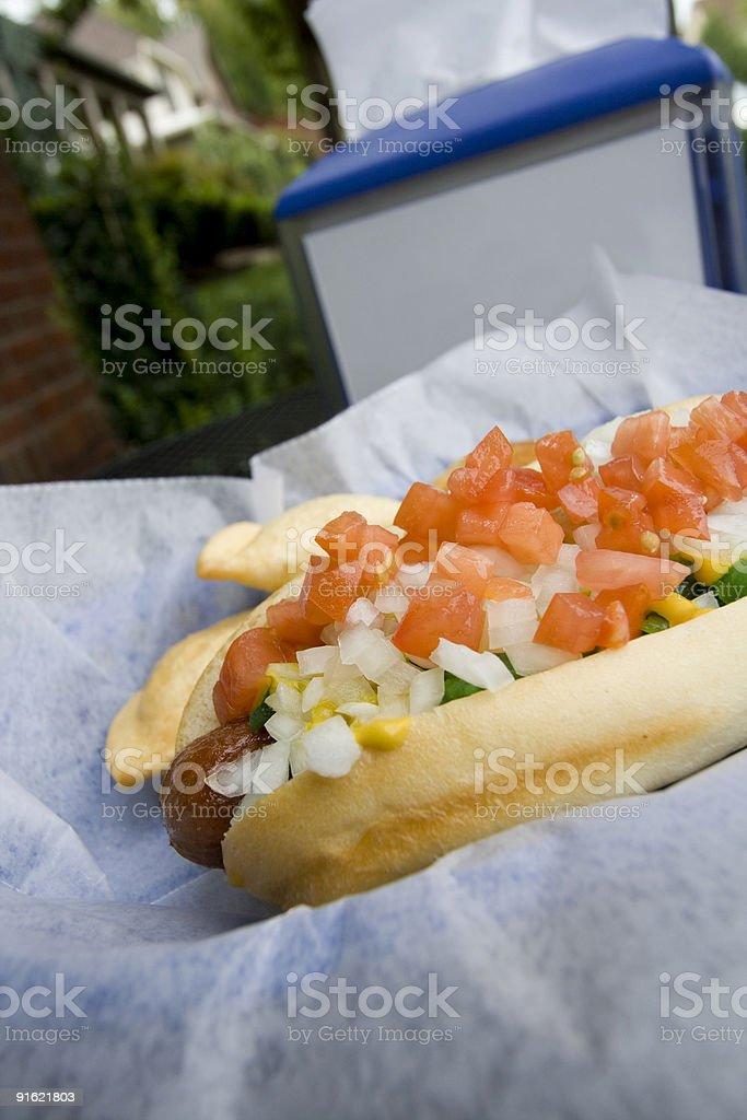 hot dog and napkin dispenser royalty-free stock photo