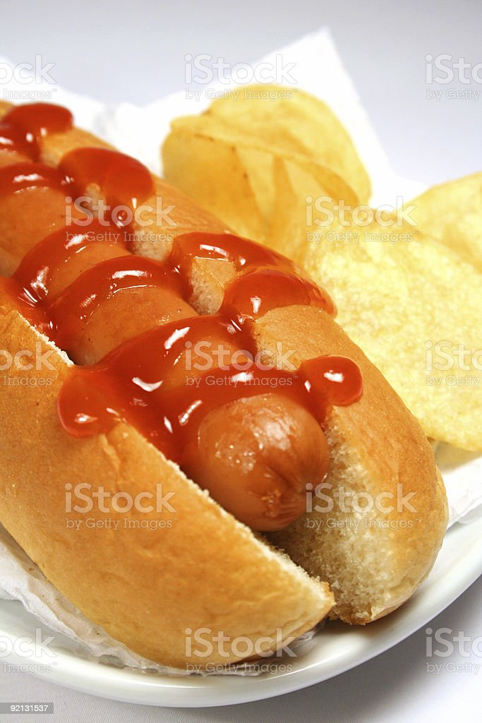 Hot Dog and Potato Chips royalty-free stock photo