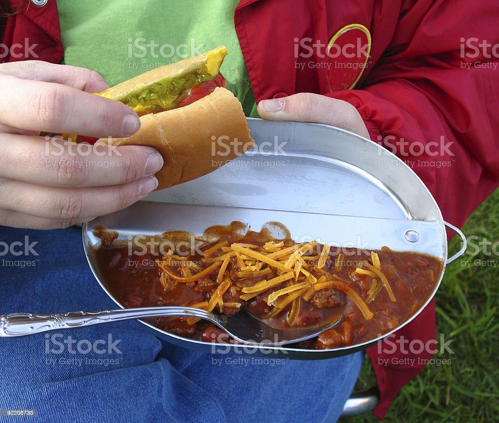 Hot Dog & Beans, Camp Style stock photo