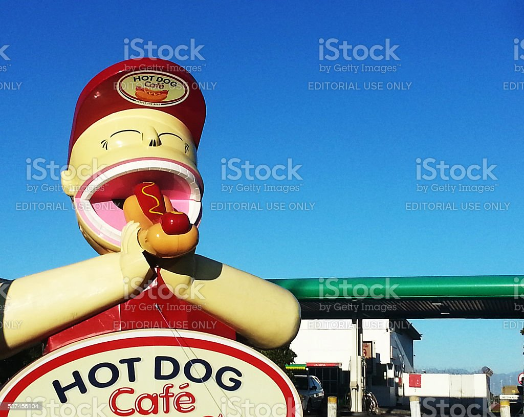 Hot dog, fast food, gas station, Cape Town, statue, stock photo