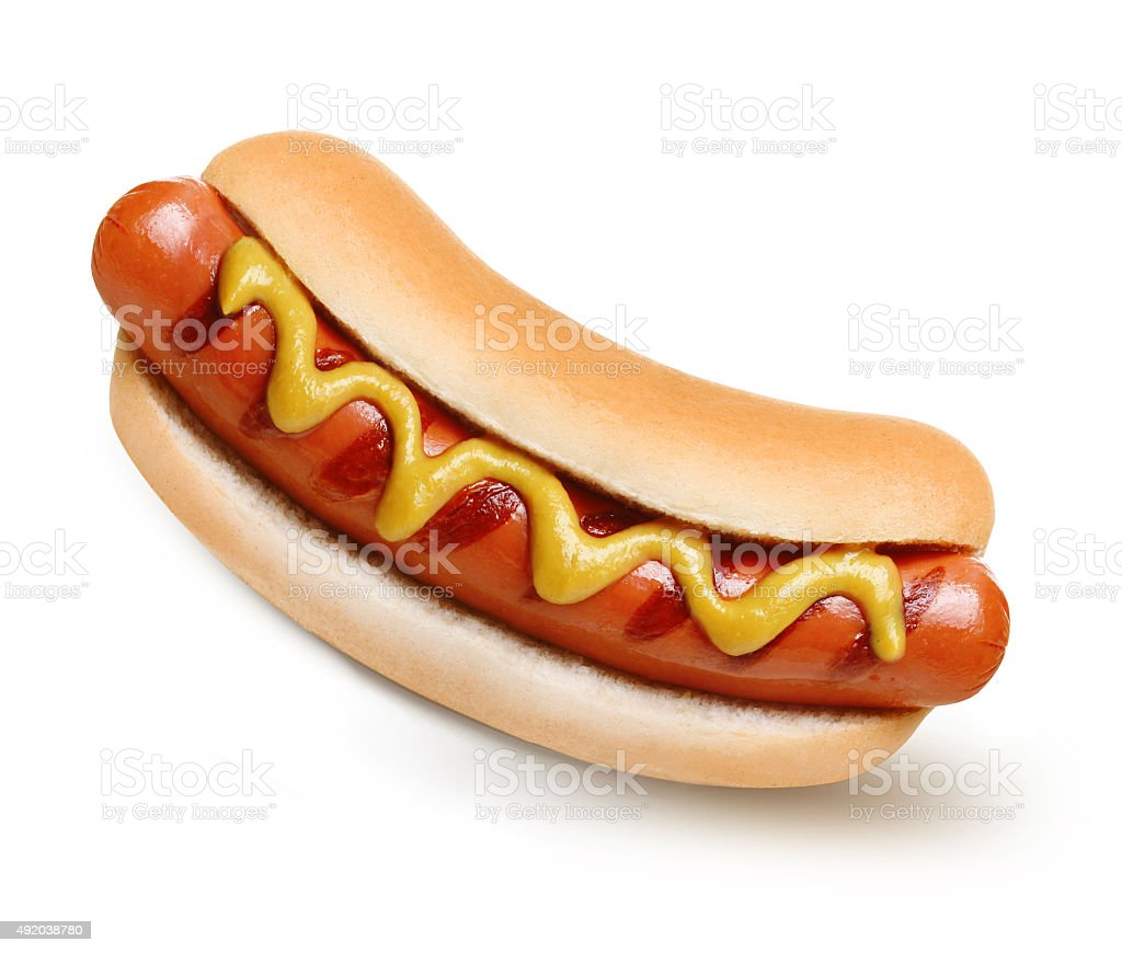 Hot dog grill with mustard stock photo