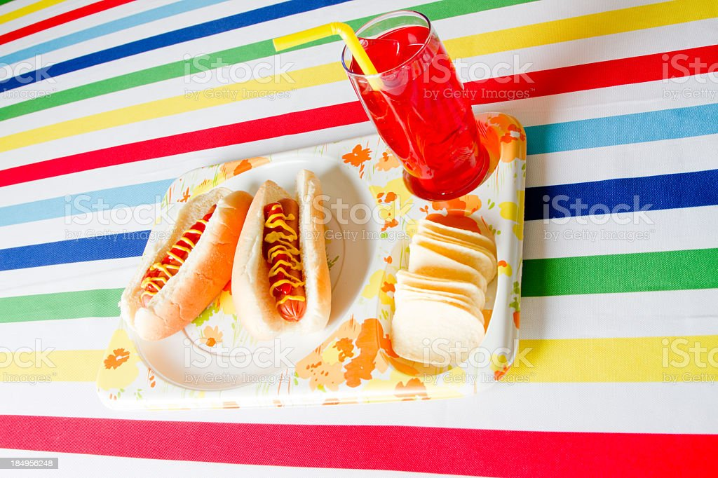 Hot dog lunch with chips royalty-free stock photo