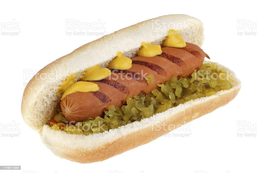 Hot Dog on a Bun stock photo