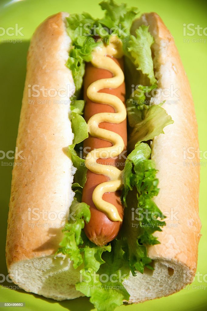 hot dog on a green plate stock photo