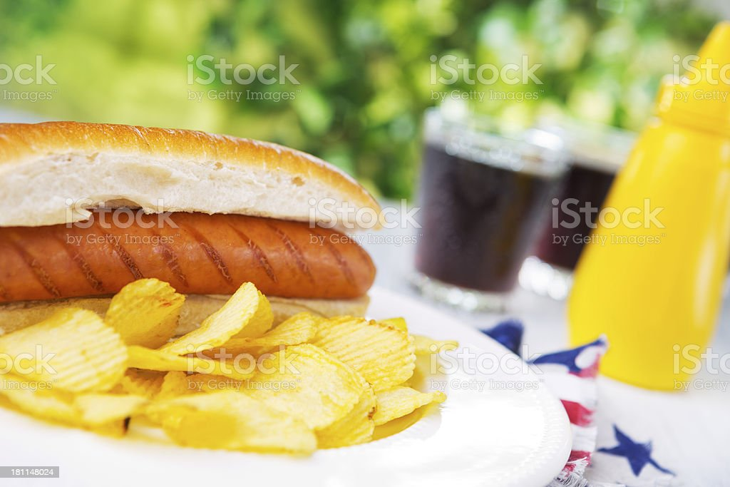 Hot dog on an outdoor table in bright light royalty-free stock photo