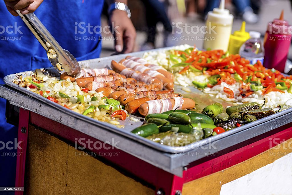 Hot Dog preparation on Los Angeles streets stock photo