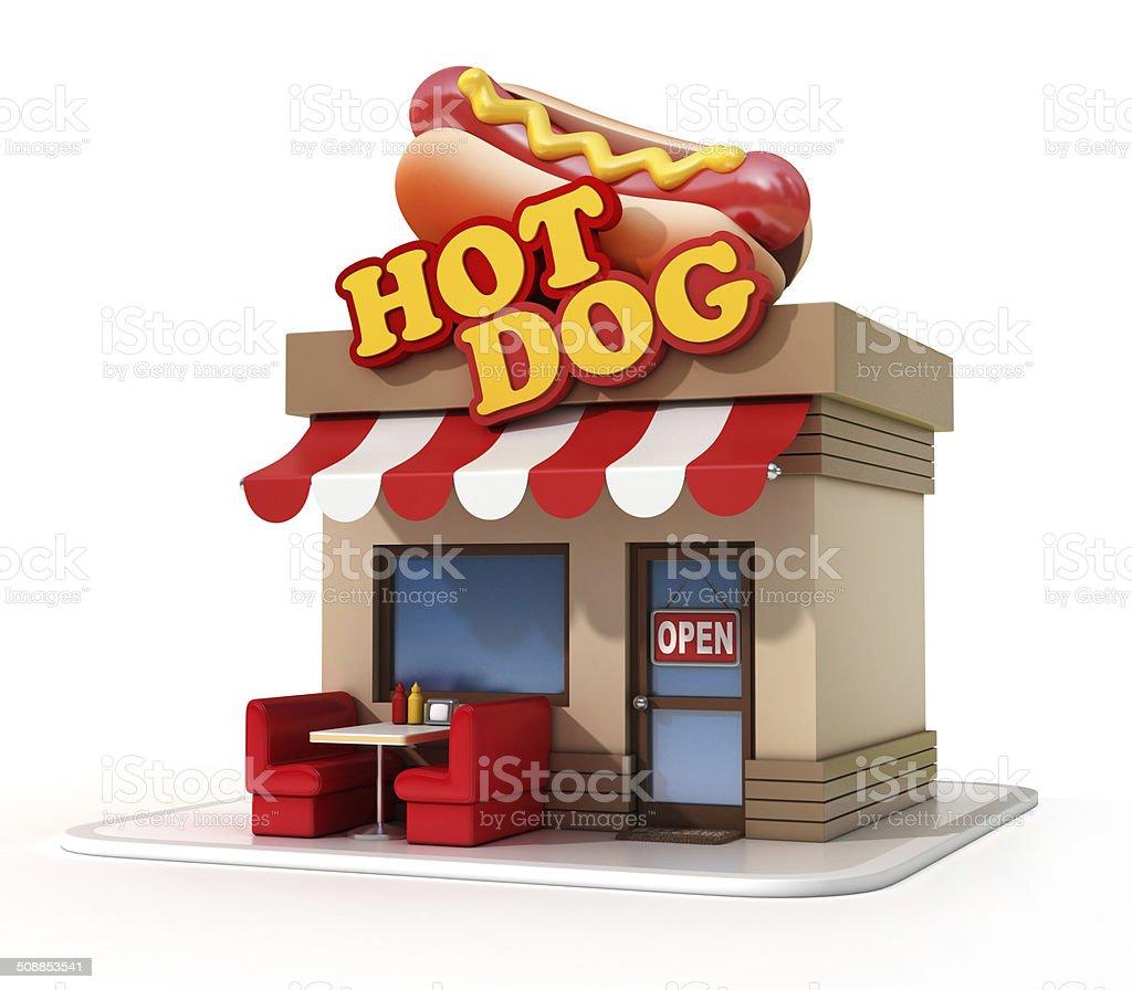 hot dog store 3d illustration stock photo