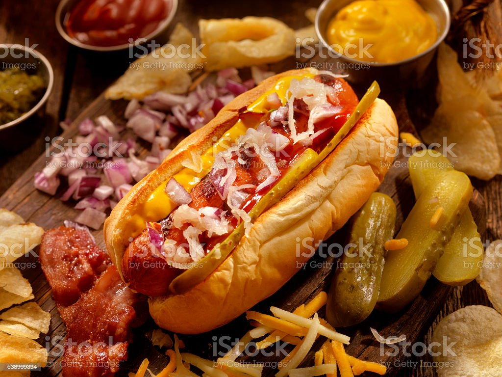 Hot Dog with all the fixings stock photo