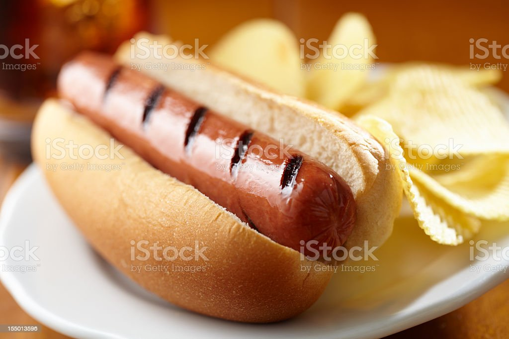 Hot dog with chips stock photo