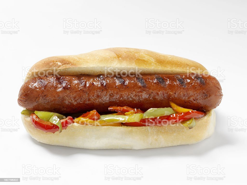 Hot Dog with Grilled Peppers stock photo