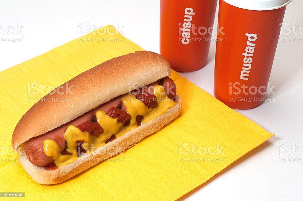 Hot Dog with Ketchup and Mustard stock photo