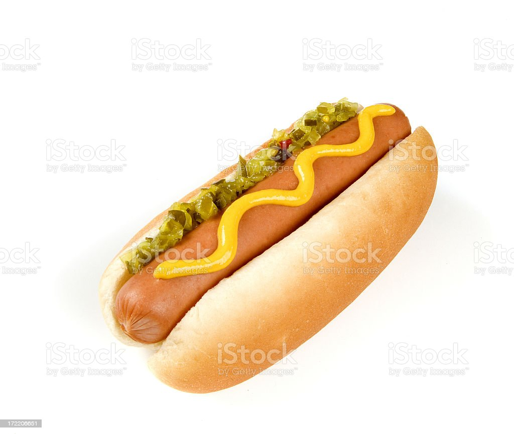 Hot dog WIth Mustard and Relish stock photo