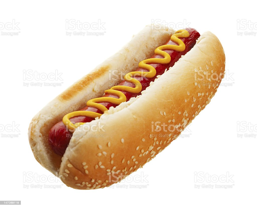 Hot Dog With Mustard royalty-free stock photo