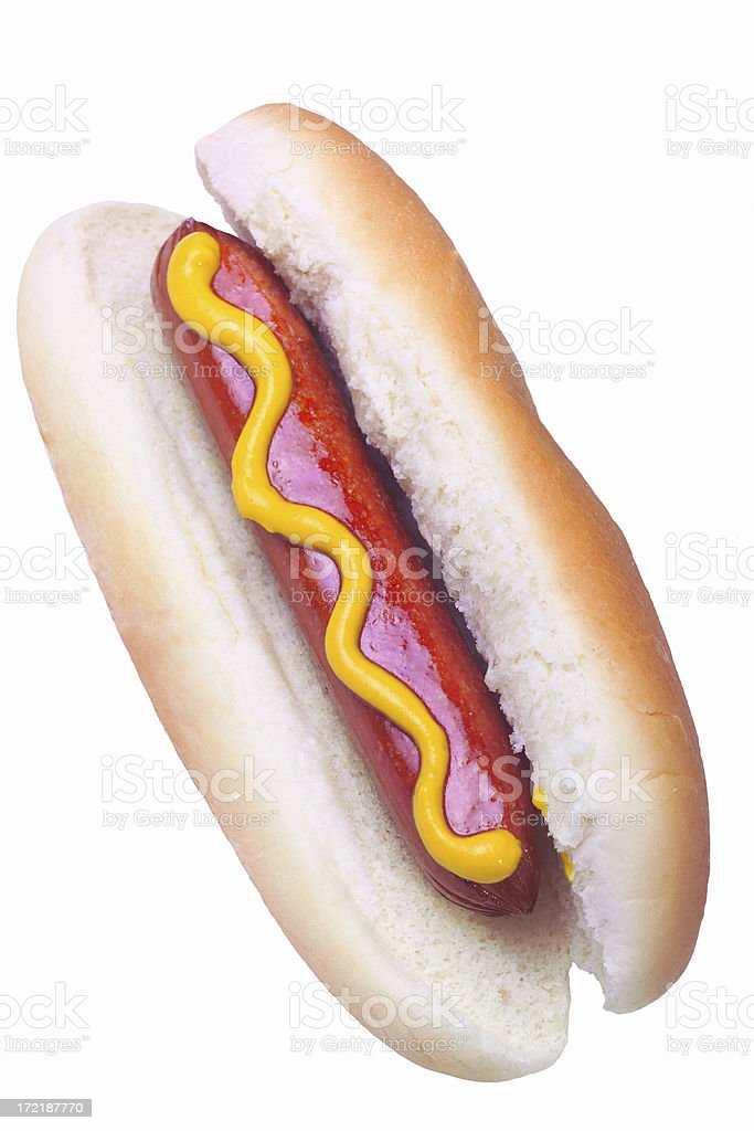 hot dog with mustard stock photo