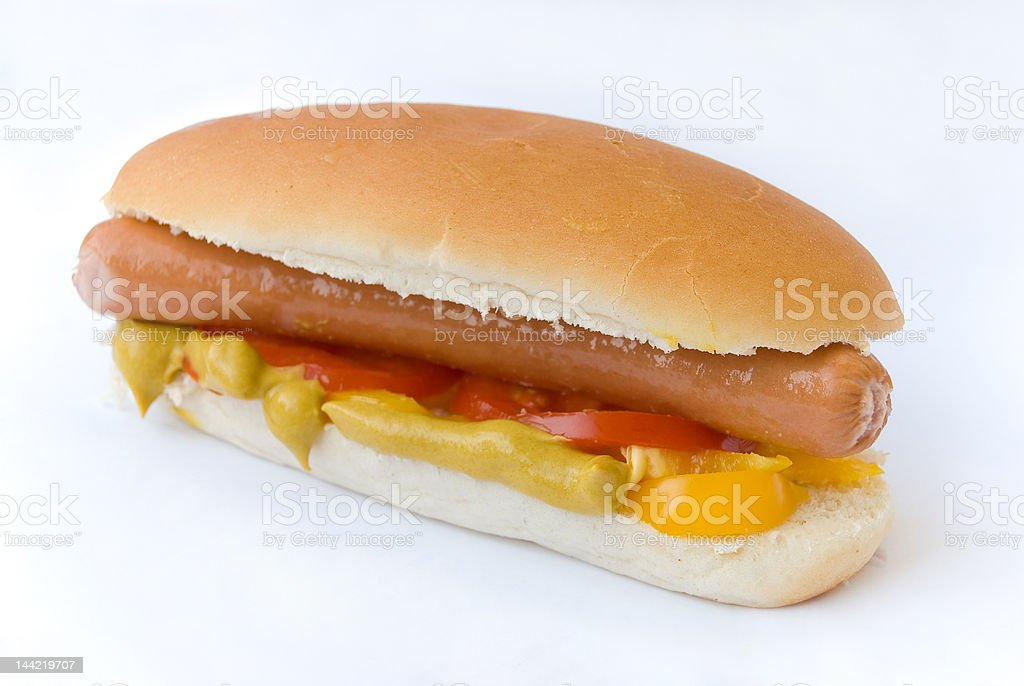 Hot Dog with Pepper and Tomato royalty-free stock photo