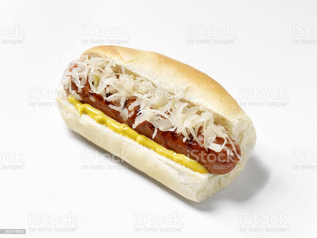Hot Dog with Sauerkraut and Mustard royalty-free stock photo