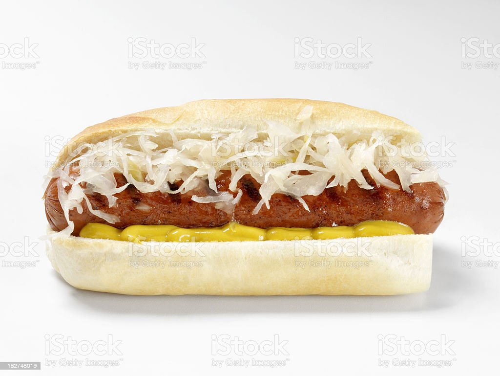 Hot Dog with Sauerkraut and Mustard stock photo