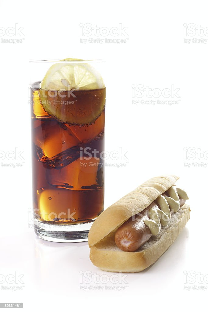 Hot dog with soda royalty-free stock photo