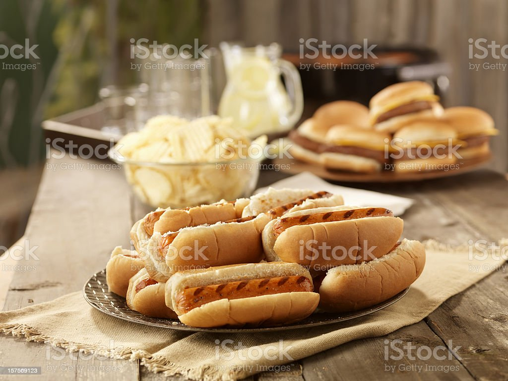 BBQ Hot Dogs at a Picnic royalty-free stock photo