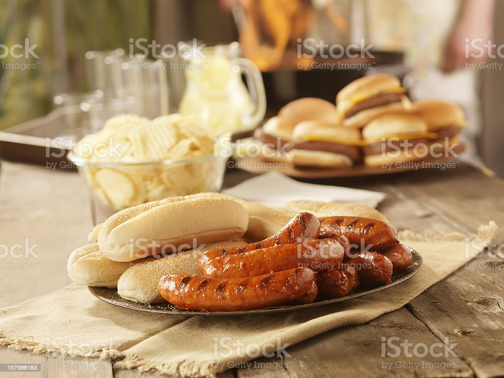 BBQ Hot Dogs at a Picnic royalty-free stock photo
