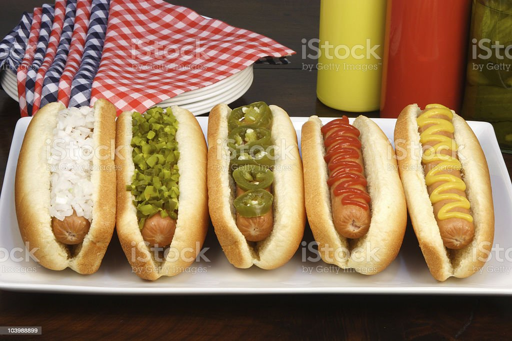 hot dogs for a party stock photo