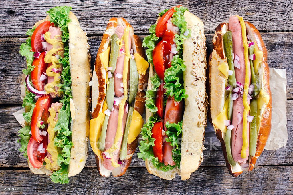 Hot dogs from above stock photo